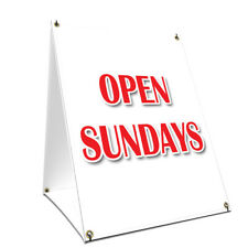 A-frame Sidewalk Sign Open Sundays With Graphics On Each Side