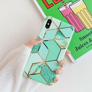 New Fashion Girl Plating Splice Marble Luxury Case Back Cover For Various Phones
