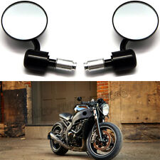 """Universal Motorcycle Black CNC 3"""" Round 7/8"""" Handle Bar End Rearview Side Mirror"""