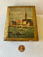Vintage Trinket Box Made in Italy Florentia Venice scene painting hand crafted