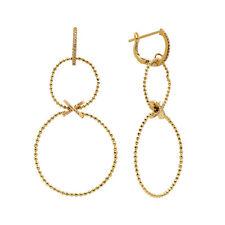 FINE BEADED 14K YELLOW GOLD PAVE DIAMOND CIRCLE DANGLING DANGLE DROP EARRINGS