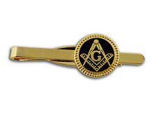 Masonic Lodge Regalia - Freemasons Round Symbol Tie Clip / Tie Bar - Black Weave