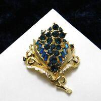 Vintage Coro Brooch Floral Flower Navy Blue Rhinestones Pin 1950's Costume Jewel