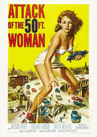 "ATTACK OF THE 50 FT WOMAN VINTAGE MOVIE REPRO A4 CANVAS PRINT POSTER 11.7""x 8.3"""