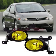 06-08 For Honda Civic Coupe Yellow Lens Pair Bumper Fog Light+Wiring+Switch Kit