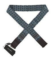 NEW $220 DOLCE & GABBANA Scarf Gray 100% Silk Blue Pattern Skinny Necktie 140x25