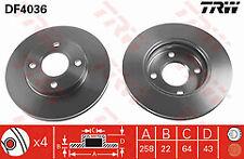 Fits Mazda 3 1.3 1.4 1.6 Petrol 1.4 Diesel 03-07 Front Brake Disc's 258mm V