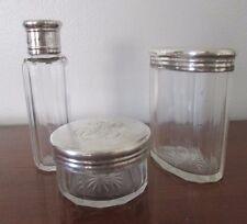 antique GLASS VANITY SET German silver hallmark ED. ACKERMANN