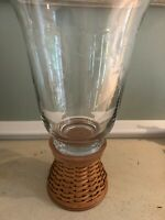 Longaberger  Glass Hurricane and woodcrafts stand