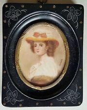 Miniatur Porträt einer jungen Dame, Gouache Malere, 19. Jahrhundert sign. Gerard