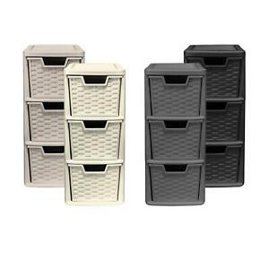 3 Drawer Medium Rattan Tower Units in Black, Slate Grey, Cream & Mushroom