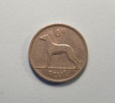 1942 Ireland 6 Pence Nickel World Coin Wolfhound Dog Irish Harp Eire