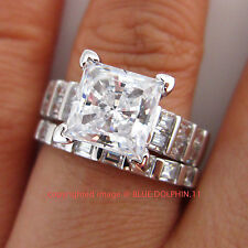 Genuine Solid 9ct White Gold Engagement Wedding 2 Rings Sets Simulated Diamonds