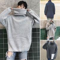 Mens WinterWarm Casual TurtleneckSweater TopsKnitwear Jumper Loose Pullover