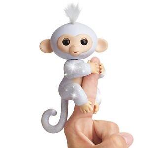 """Fingerlings Sugar White Glitter Monkey 10"""" Plush w/ Sound Bonus Blind Bag"""