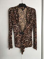 AUGUST SILK Leopard Print silk blend cardigan size S