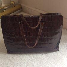 Furla  Brown Leather Mock Croc Crocodile Large Shopper  Bag