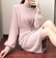 Women's  Crewneck Knitted Sweater Long Casual Pullover Dress  Slim Fit coat
