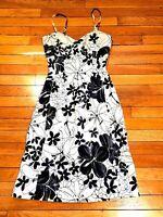 COAST STRAPPY CORSETED BLACK WHITE FLARE OCCASION DRESS UK 10
