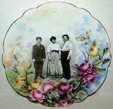 RARE Limoges France Family Photograph Portrait Plate / HP Roses VERY UNIQUE