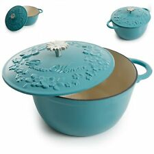 5 Quart Enameled Cast Iron Dutch Oven Floral Turquoise Kitchen Cooking Cookware