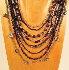 "24"" Waterfall Multi Strand Mixed Bead Black & Silver Handmade Seed Bead Necklace"
