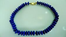 Authentic Lapis Stones With a 14K Yellow Gold Stamped Clasp, 19.5 cm. Bracelet.