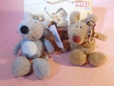 Nici 2 Mäuse grau + braun bean bags Schlüsselanhänger wie neu unbenutzt ca.10cm
