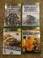 4 Game Lot XBOX Brothers In Arms: Blood + Road Hill 30 + Black Hawk+ Battlefield