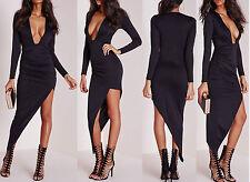 Ladies Womens long sleeve plunge asymmetric hem bodycon dress black Size 4-10