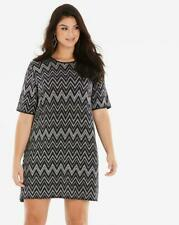 Quiz Curve Silver ZigZag Glitter T-Shirt Dress Size 24