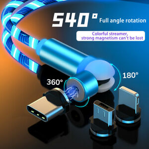 540° Magnetic LED Flowing Light up Charge Cable for iPhone/Samsung/Mobile Phone