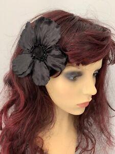 Black Poppy Corsage Brooch and Hair Clip   Brand New   12cm diameter   Hair Clip
