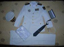 Obsolete 15's series China PLA Navy 3 Stars Man Admiral Uniform,White,Set
