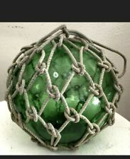 Sea Glass Floats - Rope Included - Large - Green - Vintage From Japan