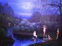 ACEO PRINT OF PAINTING FOLK RYTA NUDE WITCH LANDSCAPE IVANA KUPALA NIGHT SPRING