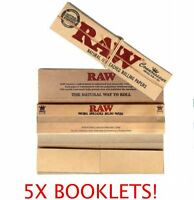 RAW KING SIZE SLIM PAPERS+ROACH TIPS (5 PACKS) X 32 GENUINE RAW SMOKING KING