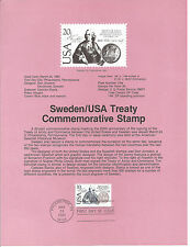 20 cent SWEDEN/USA TREATY 1983 SOUVENIR PAGE SCOTT # 2036 SP608 HISTORICAL EVENT