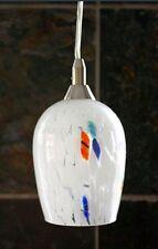 Small Art Glass murano style light lighting Pendant brushed nickel multi color