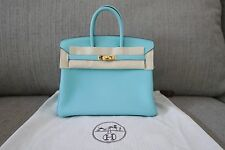 SALE! Auth 2015 Hermes Birkin 25cm Bag Togo Leather Blue Atoll T Stamp Gold HW