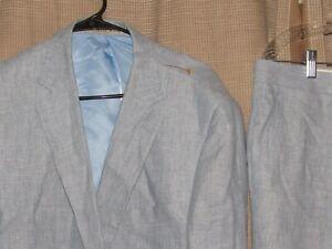 NWT New APOLLO KING 44L 44 long 100% linen suit light blue dual vents 38 pants