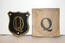 NOS 1920's-1930s Monogram Full Size Motometer Cap Shield Letter Q Black & Brass