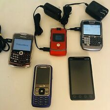 LOT OF 5 VINTAGE USED CELL PHONES With 2 BLACKBERRY