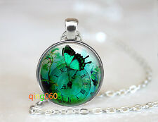 Green Butterfly photo glass dome Tibet silver Chain Pendant Necklace wholesale
