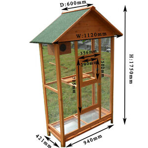 Brand New FIR WOOD LARGER PARROT AVIARY BUDGIE BIRD CAGE with WIRE MESH T042