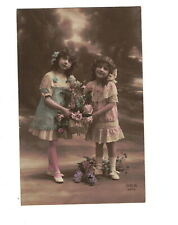 Mc3090 Little Victorian Girls In Embroidered Dresses With Flower Basket Rppc