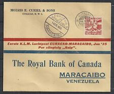 Curacao covers 1935 PROOF Flightcover to Maracaibo