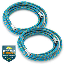 """2pc 6' Braided Airbrush Air Hose 1/8"""" to 1/8"""" BSP Adaptor Fits Most Brands"""