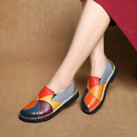 SOCOFY Women Handmade Splicing Genuine Leather Shoes Soft Slip On Loafers   *
