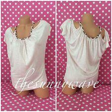 Papaya Blouse Off the Shoulder Open Pink Blush Beaded Top Short Sleeve NWOT S